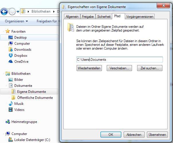 Windows Eigene Dateien auf eine andere Partition verschieben